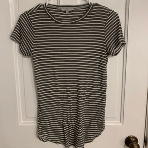 Charlotte Russe Grey Striped Tee Size Small